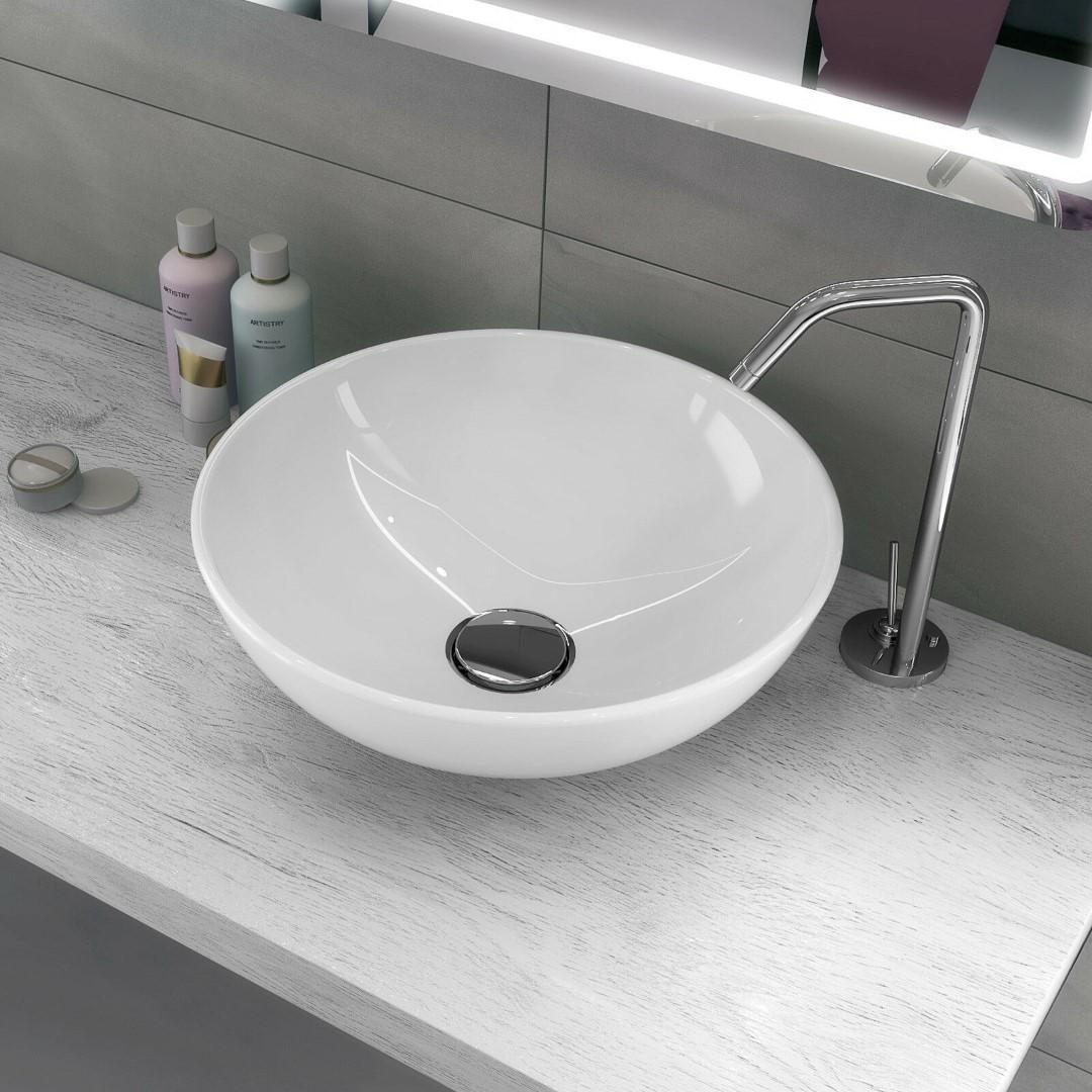 Lavello Bagno Da Appoggio lavabo a bacinella tondo 40 cm in ceramica bianco lucido da appoggio senza  foro
